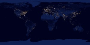 "NASA image acquired April 18 - October 23, 2012 This new image of the Earth at night is a composite assembled from data acquired by the Suomi National Polar-orbiting Partnership (Suomi NPP) satellite over nine days in April 2012 and thirteen days in October 2012. It took 312 orbits and 2.5 terabytes of data to get a clear shot of every parcel of Earth's land surface and islands. The nighttime view of Earth in visible light was made possible by the ""day-night band"" of the Visible Infrared Imaging Radiometer Suite. VIIRS detects light in a range of wavelengths from green to near-infrared and uses filtering techniques to observe dim signals such as gas flares, auroras, wildfires, city lights, and reflected moonlight. In this case, auroras, fires, and other stray light have been removed to emphasize the city lights. Named for satellite meteorology pioneer Verner Suomi, NPP flies over any given point on Earth's surface twice each day at roughly 1:30 a.m. and 1:30 p.m. The spacecraft flies 824 kilometers (512 miles) above the surface in a polar orbit, circling the planet about 14 times a day. Suomi NPP sends its data once per orbit to a ground station in Svalbard, Norway, and continuously to local direct broadcast users distributed around the world. The mission is managed by NASA with operational support from NOAA and its Joint Polar Satellite System, which manages the satellite's ground system. NASA Earth Observatory image by Robert Simmon, using Suomi NPP VIIRS data provided courtesy of Chris Elvidge (NOAA National Geophysical Data Center). Suomi NPP is the result of a partnership between NASA, NOAA, and the Department of Defense. Caption by Mike Carlowicz. Instrument: Suomi NPP - VIIRS Credit: NASA Earth Observatory Click here to view all of the  Earth at Night 2012 images  Click here to  read more  about this image   NASA image use policy. NASA Goddard Space Flight Center enables NASA's mission through four scientific endeavors: Earth Science, Heliophysics, Solar System Exploration, and Astrophysics. Goddard plays a leading role in NASA's accomplishments by contributing compelling scientific knowledge to advance the Agency's mission. Follow us on Twitter Like us on Facebook Find us on Instagram"
